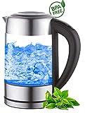 Glas Wasserkocher 1,7 Liter | 2200 Watt | Edelstahl mit Temperaturwahl | Teekocher | 100% BPA FREI |...