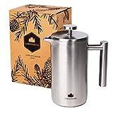 French Press aus Edelstahl von Groenenberg   0,6 Liter (3 Tassen) Kaffeebereiter doppelwandig...