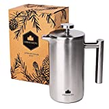 Groenenberg French Press aus Edelstahl   1 Liter (5 Tassen) Kaffeebereiter doppelwandig isoliert  ...